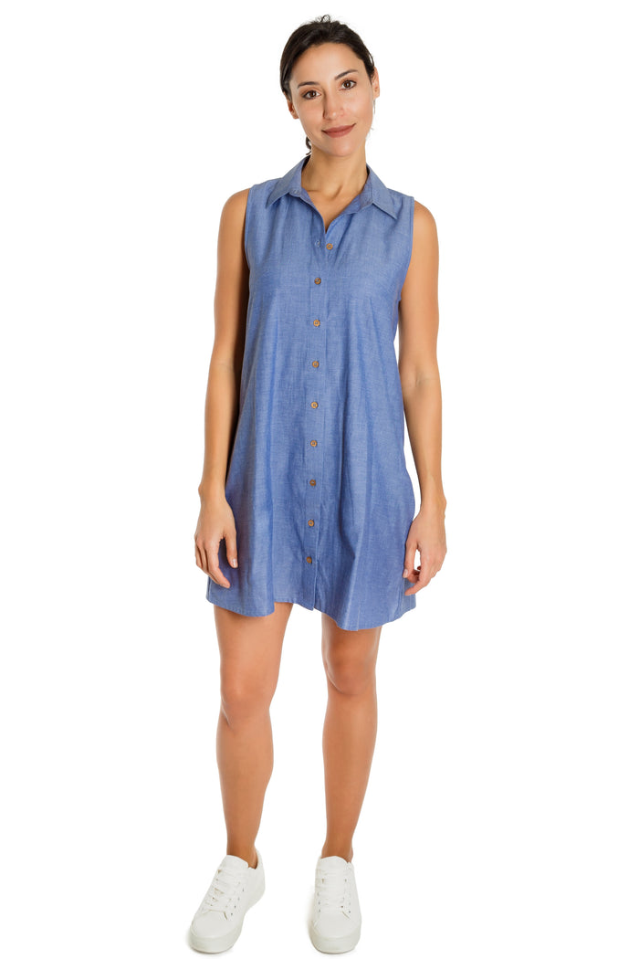 CARRIGAN - organic cotton chambray button down dress - Virtue + Vice