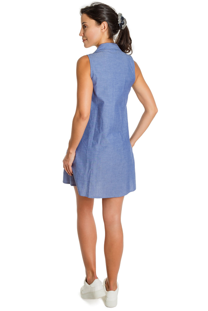 CARRIGAN - organic cotton chambray button down dress