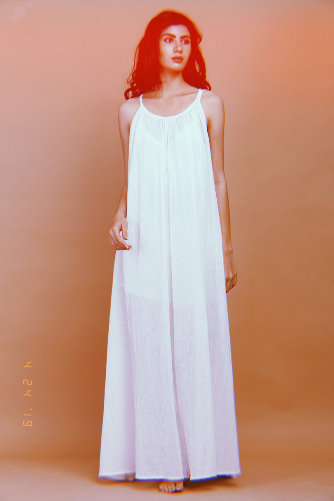 organic cotton gauze maxi dress with slip