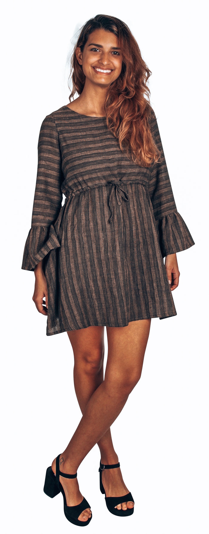 black and gold stripe bell sleeve dress in organic cotton