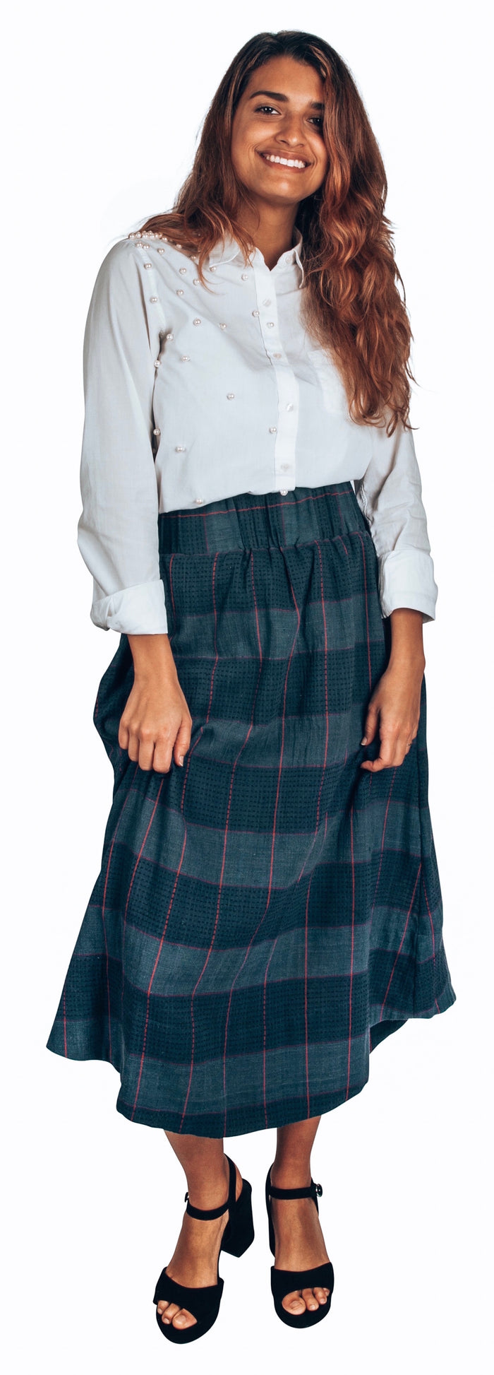 blue oversize check skirt in organic cotton khadi