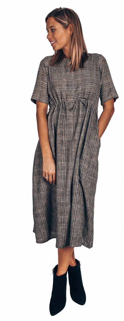 sustainable organic cotton grey plaid dress