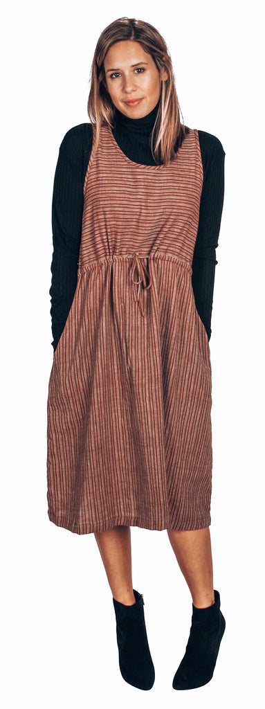multi color stripe organic cotton khadi dress