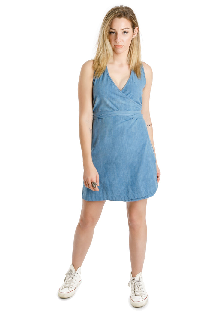organic chambray wrap dress - Virtue + Vice