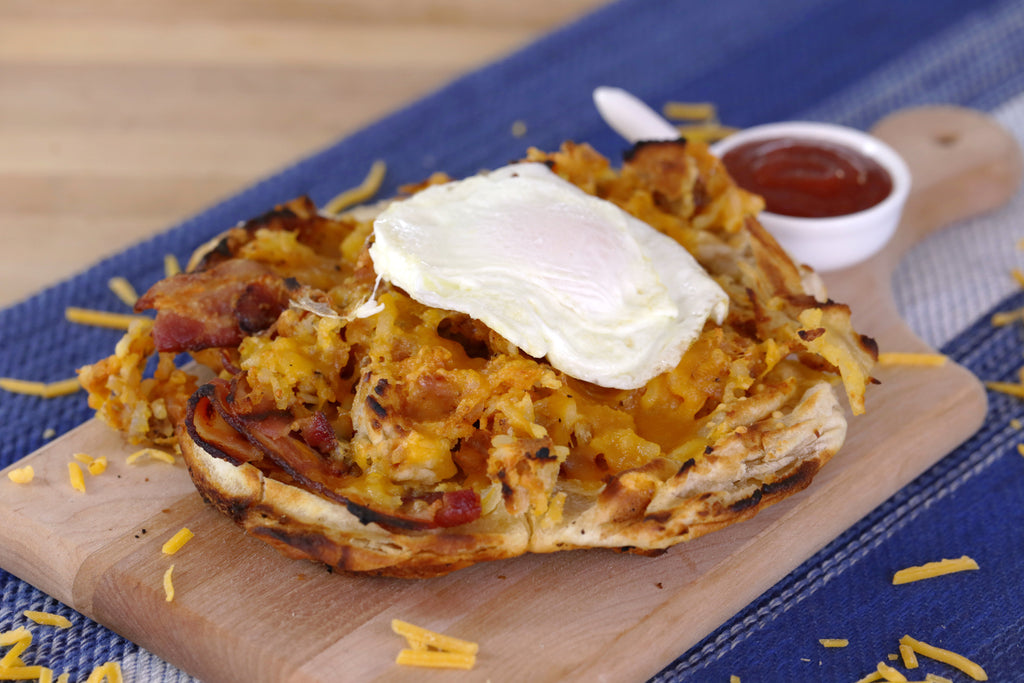 Cheesy Hash Brown Waffle Pizza