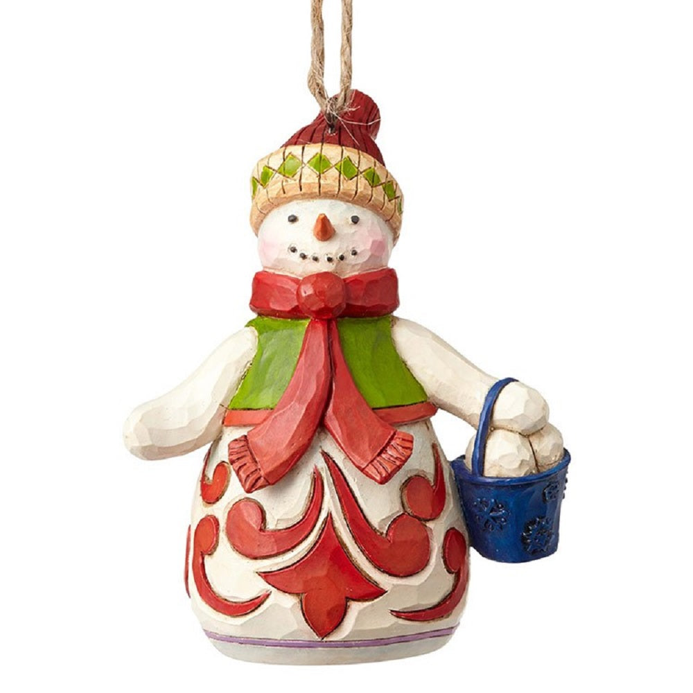 Snowman With Bucket Ornament
