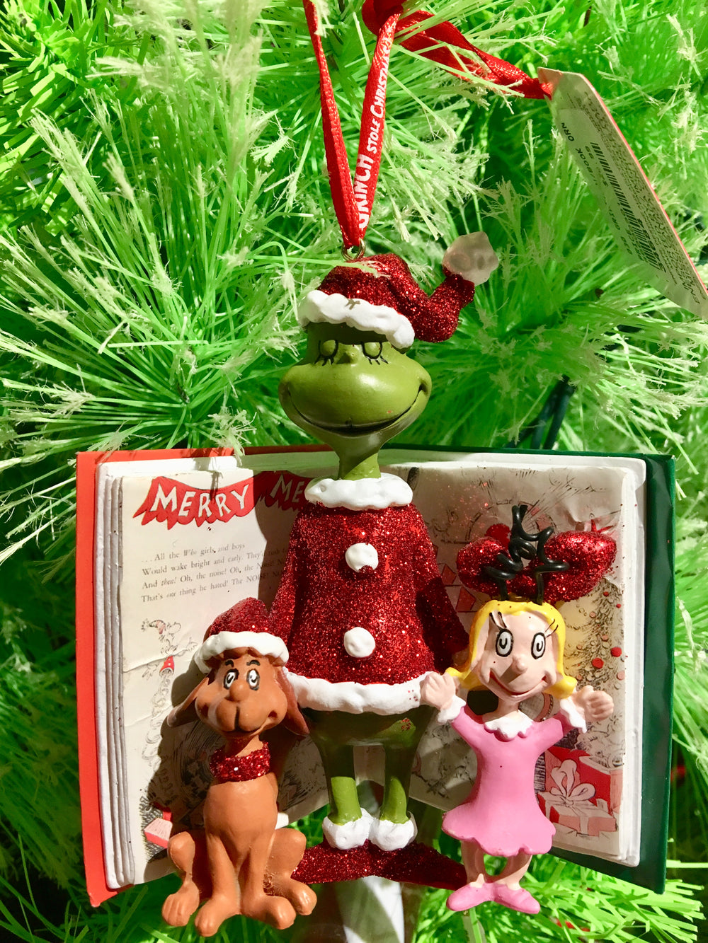 Grinch w/Book Ornament