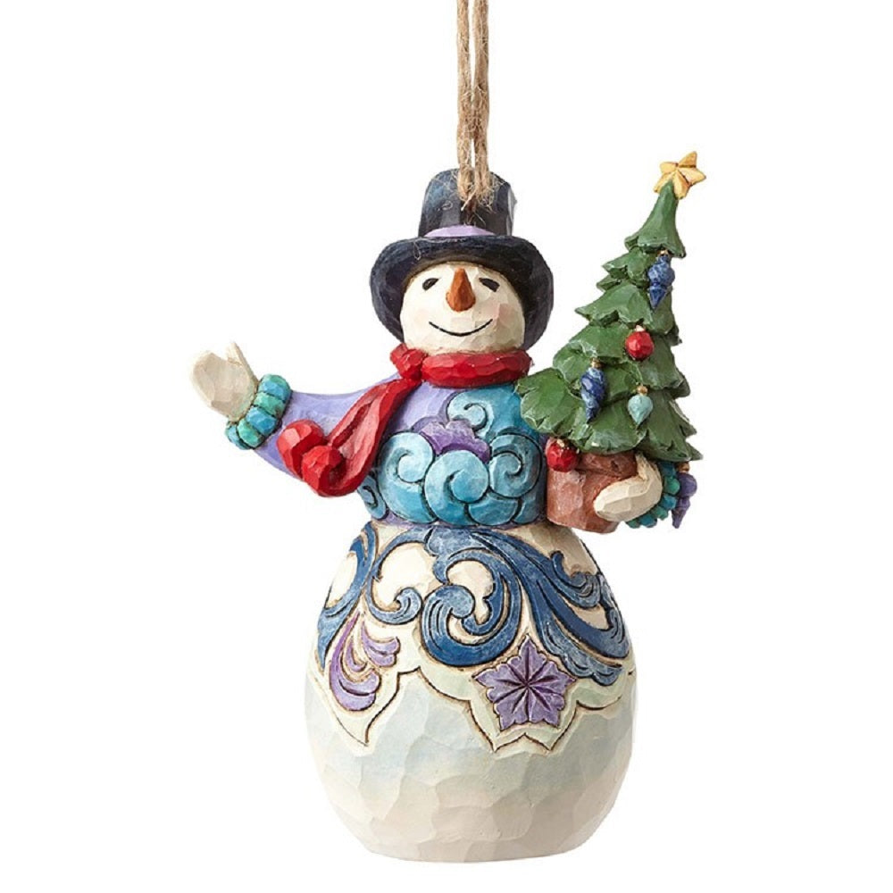 Snowman Holding Tree Ornament