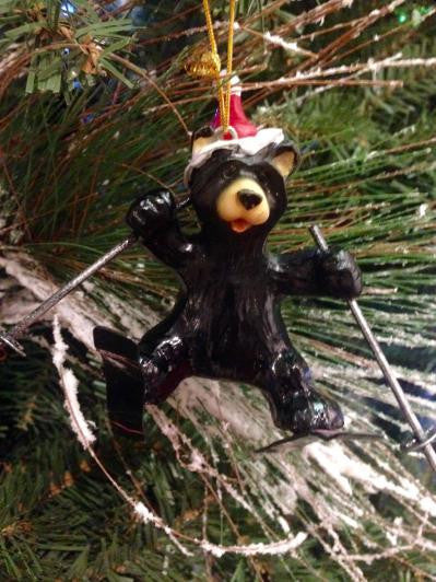 Skiing Bear w/ Santa Hat Split