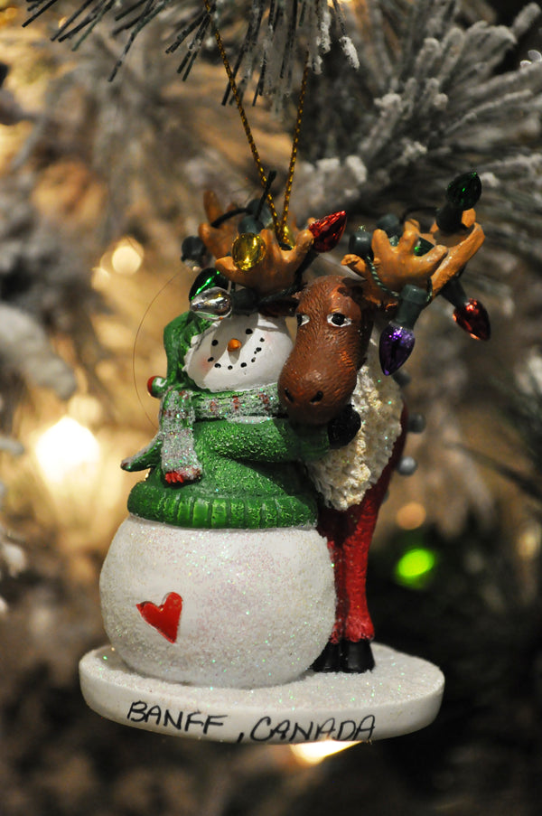 moose and snowman ornament