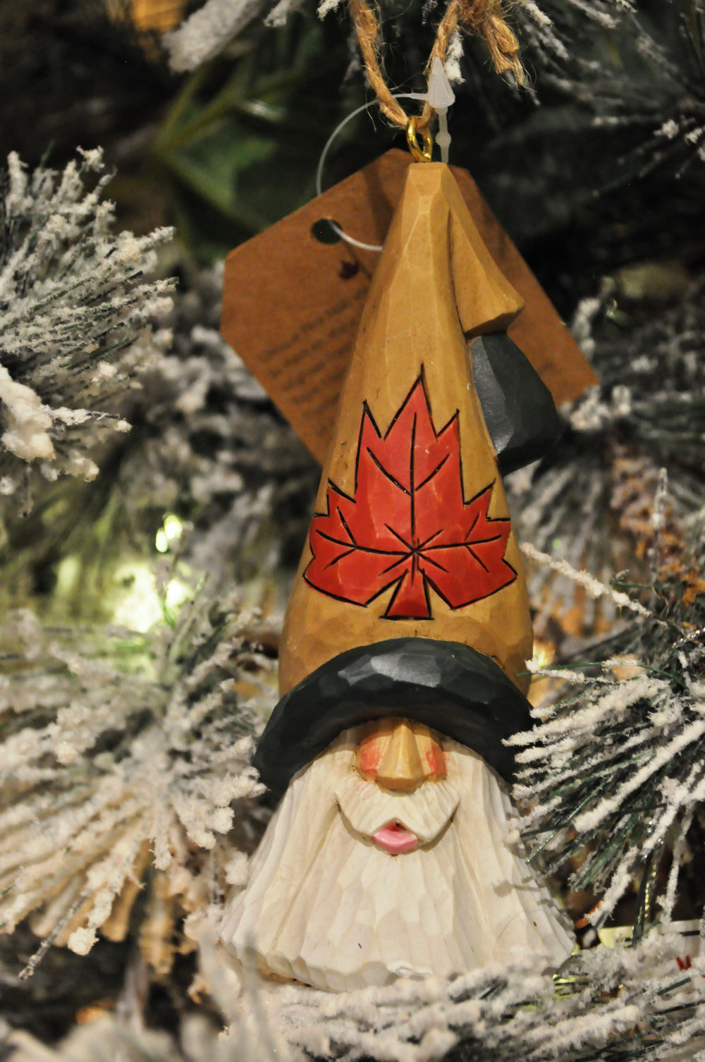 Maple Leaf Santa Ornament