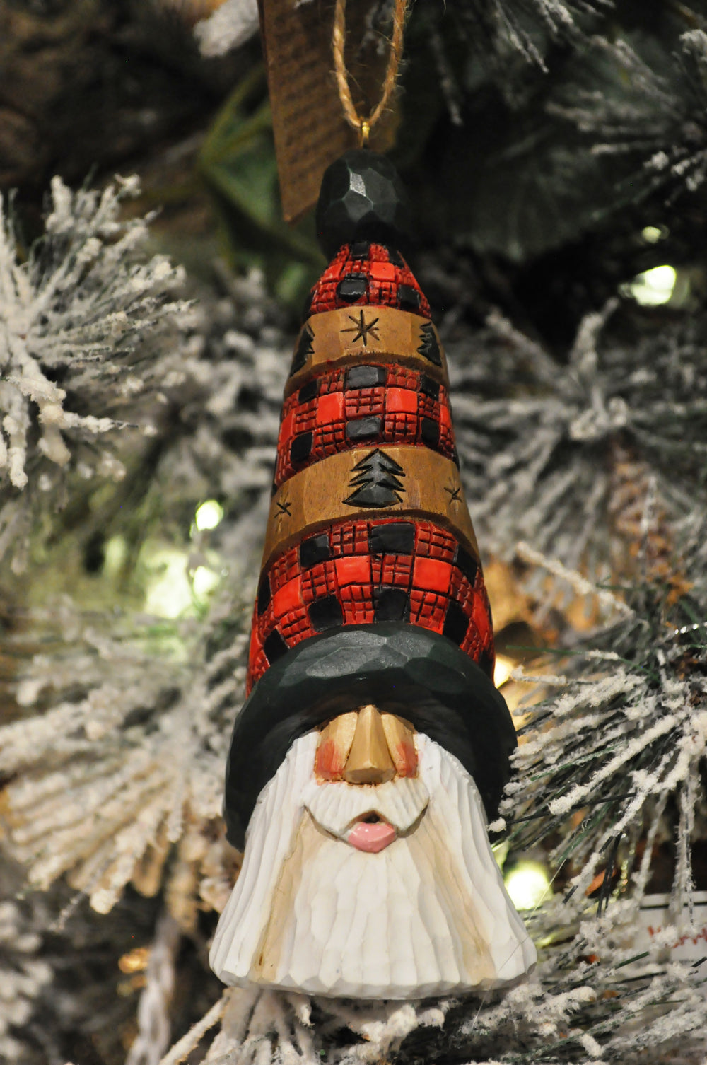 Plaid Hat Santa Ornament