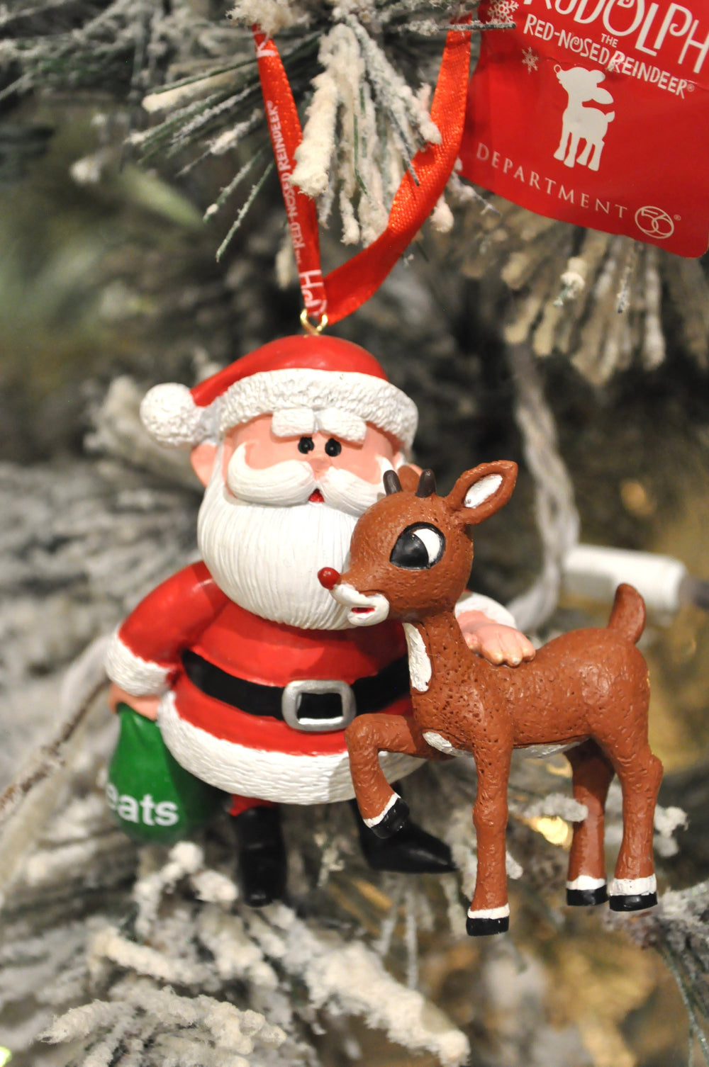 Rudy and Santa with Treats Bag  Ornament