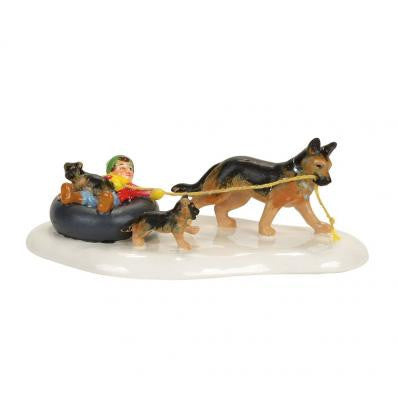 Inner tube sled dog race department 56