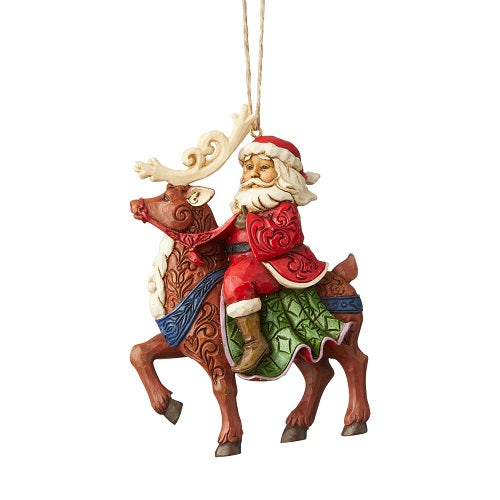 santa riding reindeer ornament
