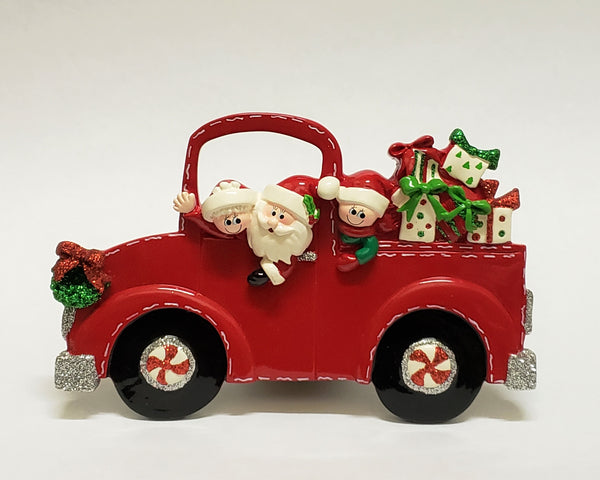 Santa Truck Family of 3 Table Piece