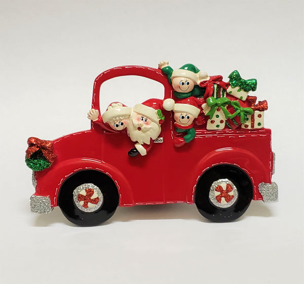 Santa Truck Family of 4 Table Piece