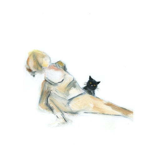 Black Cat Skandasana Original Painting
