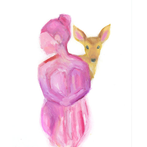 Pink Lady with Deer Original Painting