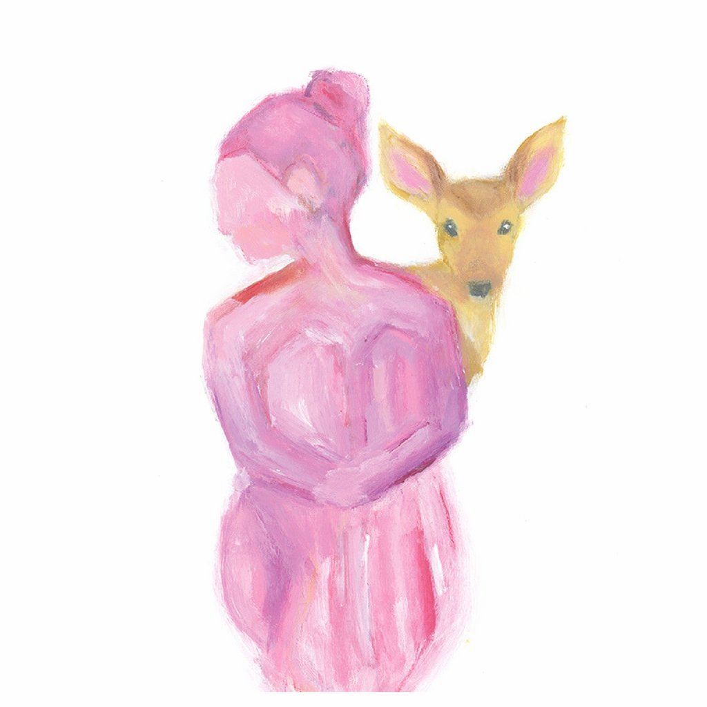 Pink Lady with Deer Print