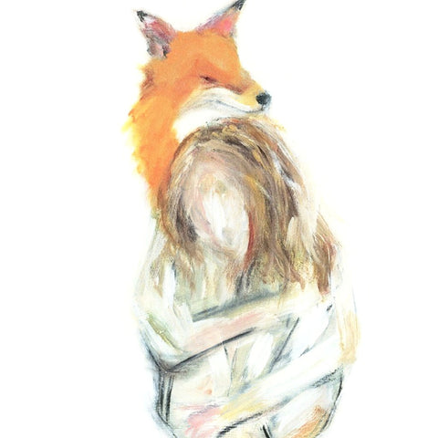 Fox And Woman Print