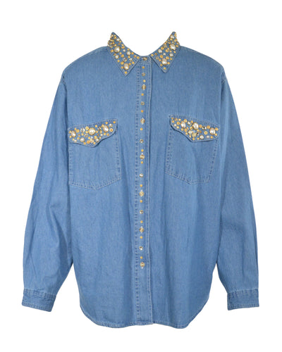 BEDAZZLED DENIM BLOUSE - WOMEN'S SIZE L
