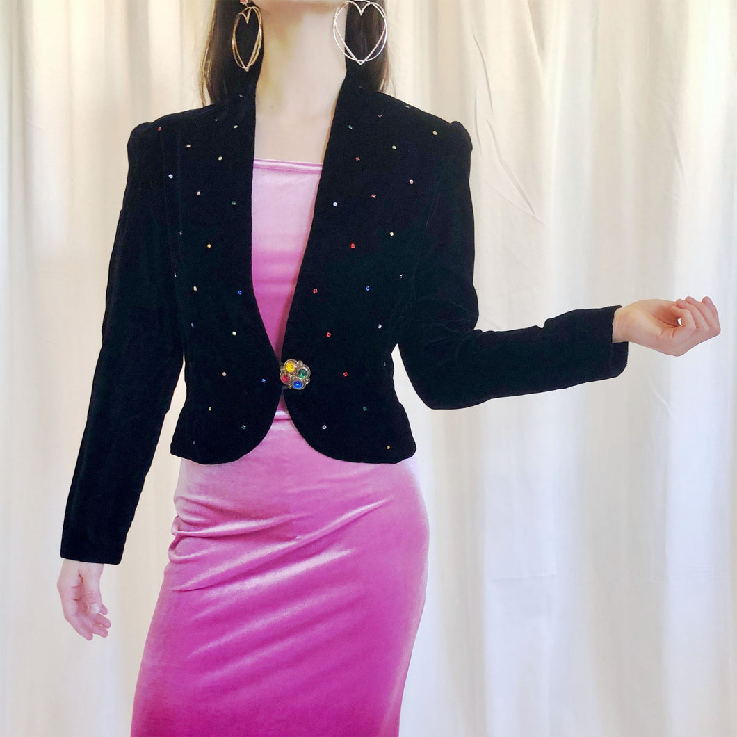 EMBELLISHED VELVET JACKET - WOMEN'S SIZE 6
