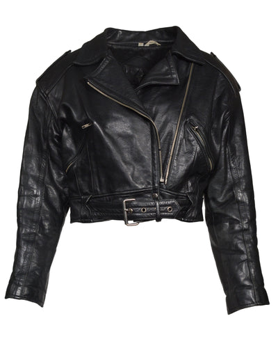 CROPPED LEATHER JACKET - WOMEN'S SIZE M