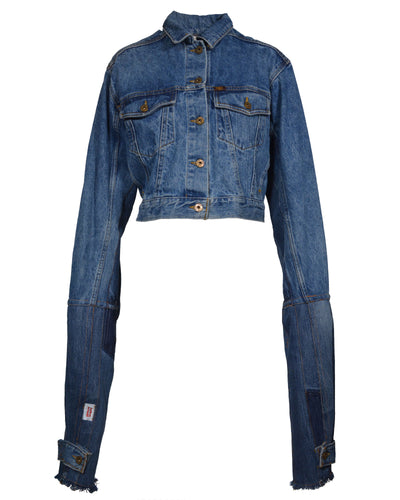 REWORKED DENIM EXTENDED SLEEVE JACKET - WOMEN'S SIZE S/M