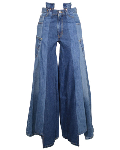 REWORKED DENIM PANELLED PANT - SIZE XS