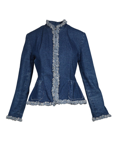 REWORKED DENIM PEPLUM JACKET - WOMEN'S SIZE M