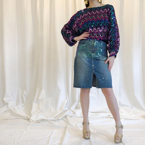 SEQUIN DENIM SKIRT - WOMEN'S SIZE S/M