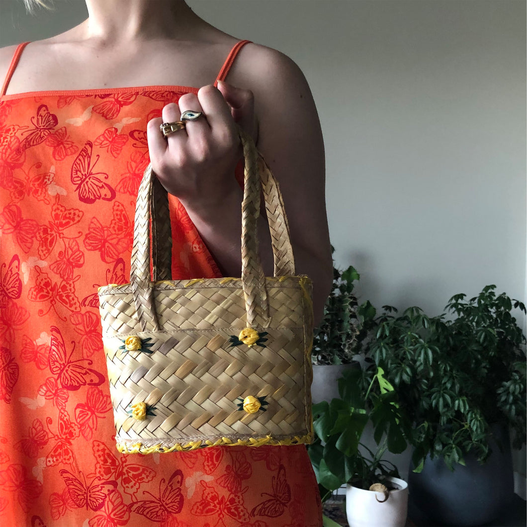 WICKER HANDLE BAG