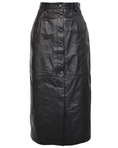 BUTTON FRONT LEATHER SKIRT - WOMEN'S SIZE M/L