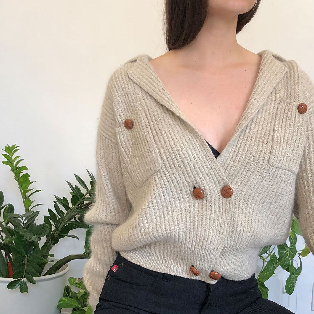 DOUBLE BREASTED CARDIGAN - WOMEN'S SIZE M