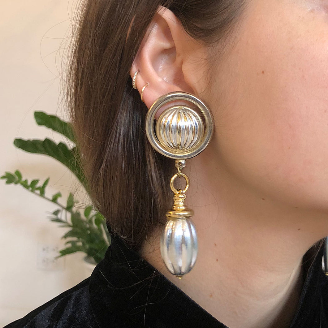 TWO TONE DROP EARRING