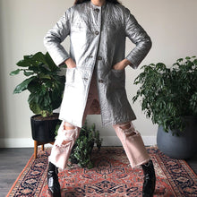 METALLIC LEATHER COAT - WOMEN'S SIZE S