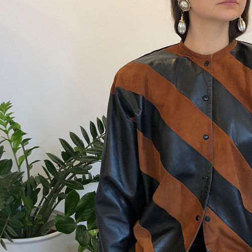 STRIPED LEATHER CARDIGAN - WOMEN'S SIZE IT 44