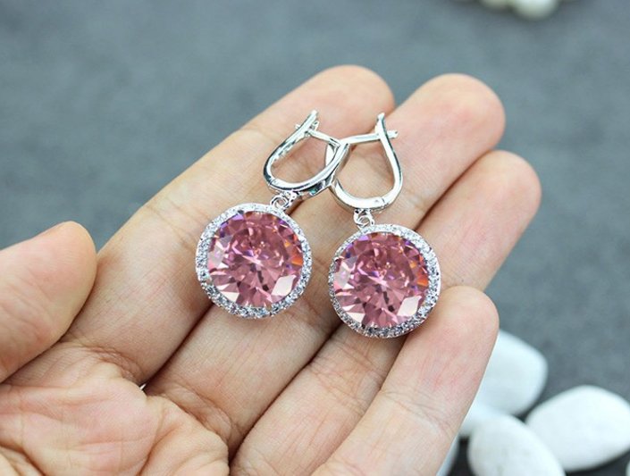 pink cubic zironia earrings with sterling silver