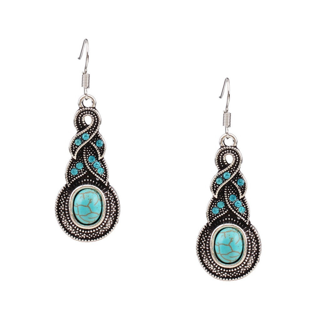Faux Turquoise and Crystal earrings