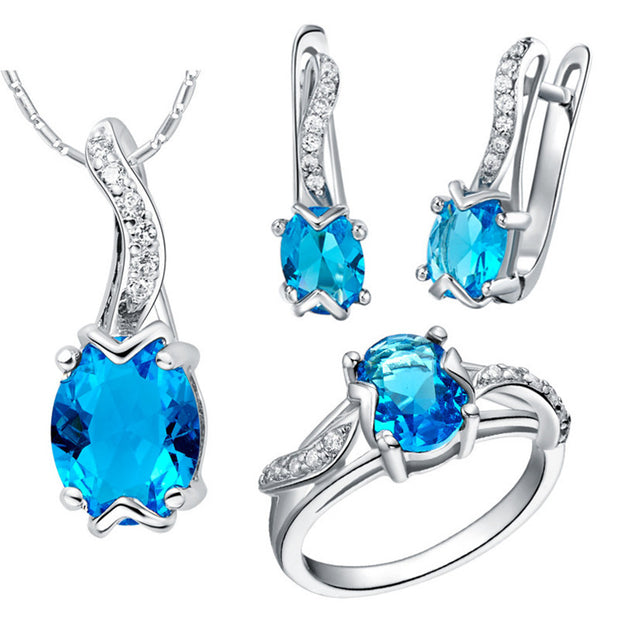 beautiful blue cubic zirconia necklace earring and ring set