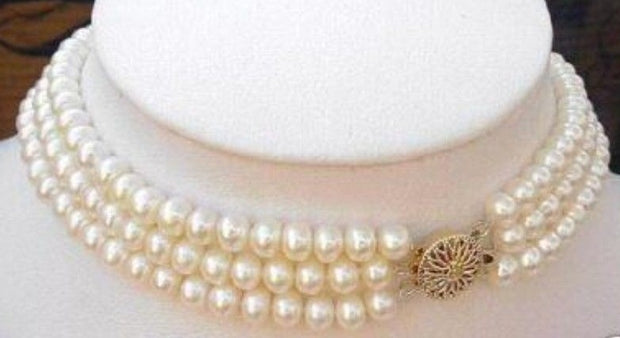 Three strand freshwater pearl choker necklace