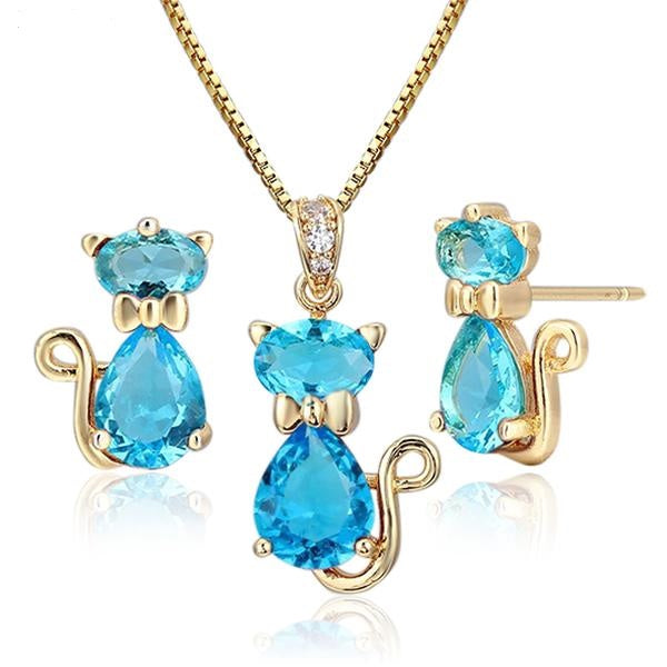 The Crystal Kitty Set - Panache Exclusive Jewelry