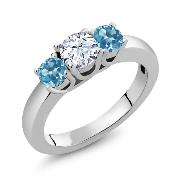 3 stone white and blue topaz ring - Panache Exclusive Jewelry