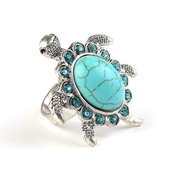 faux turquoise turtle ring tortoise with crystals