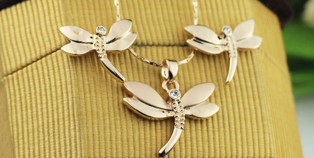 rose gold dragonfly necklace and earring set