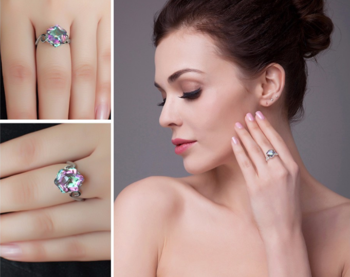 Woman wearing sterling silver and mystic topaz ring