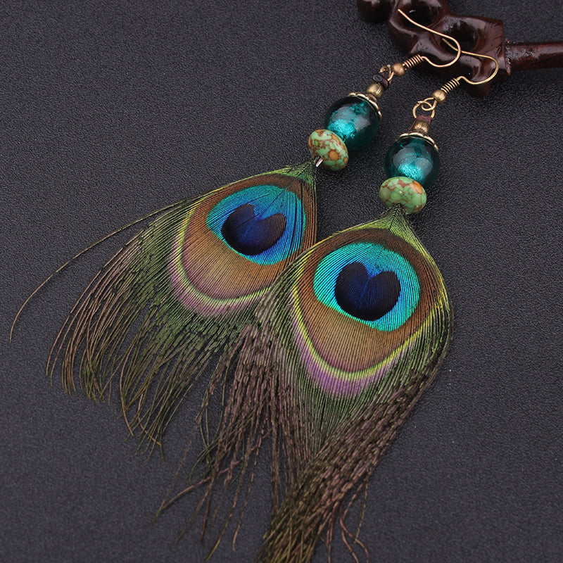 Peacock feather drop earrings