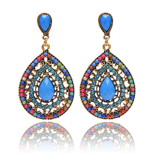 Multicolored Beaded Ethnic Style Earrings