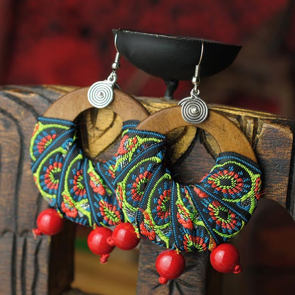Handmade wood green and red beads dangle earrings,-Panache Exclusive Jewelry